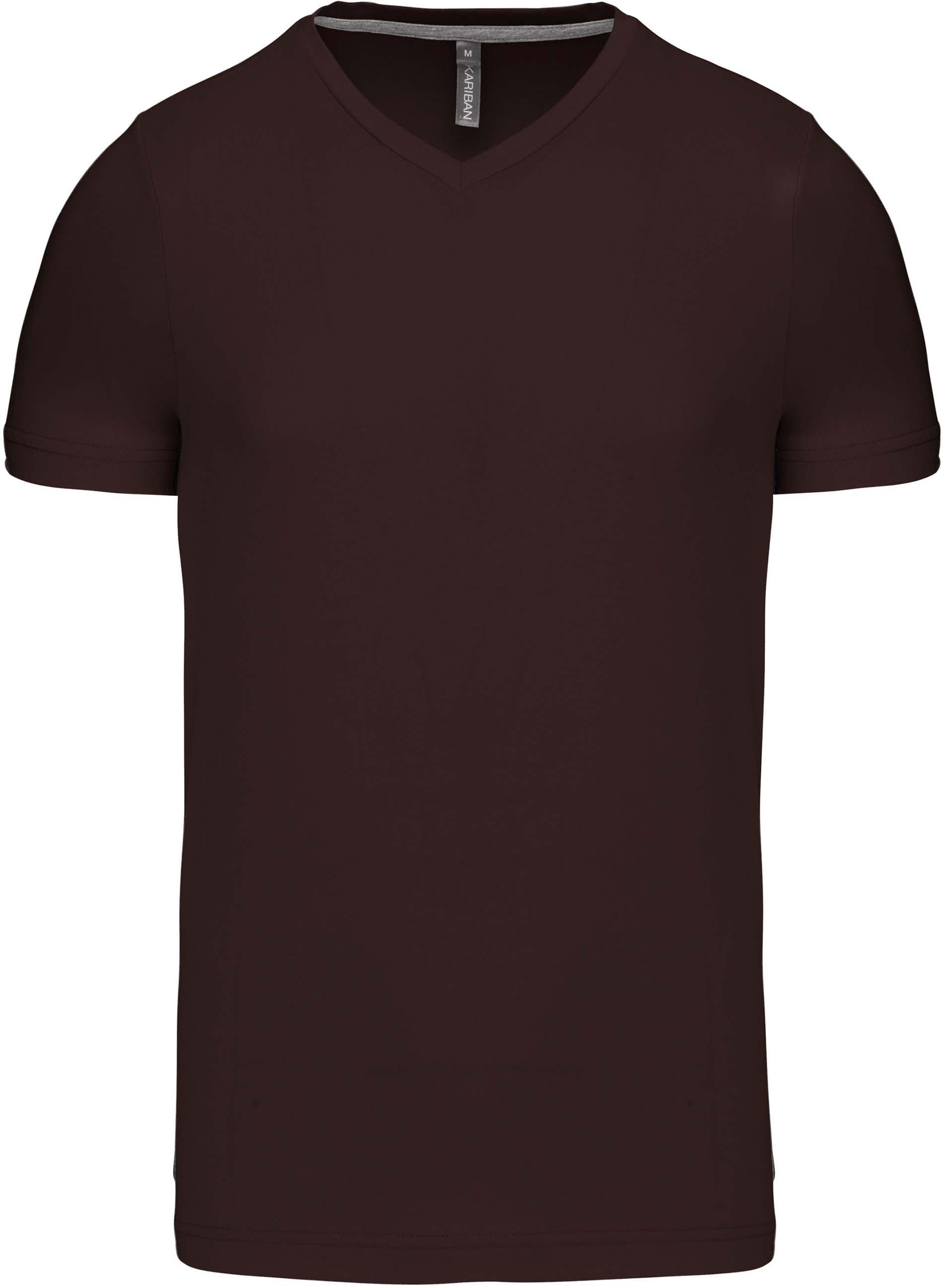 Pánské tričko kr.rukáv V-neck. Barva: Chocolate