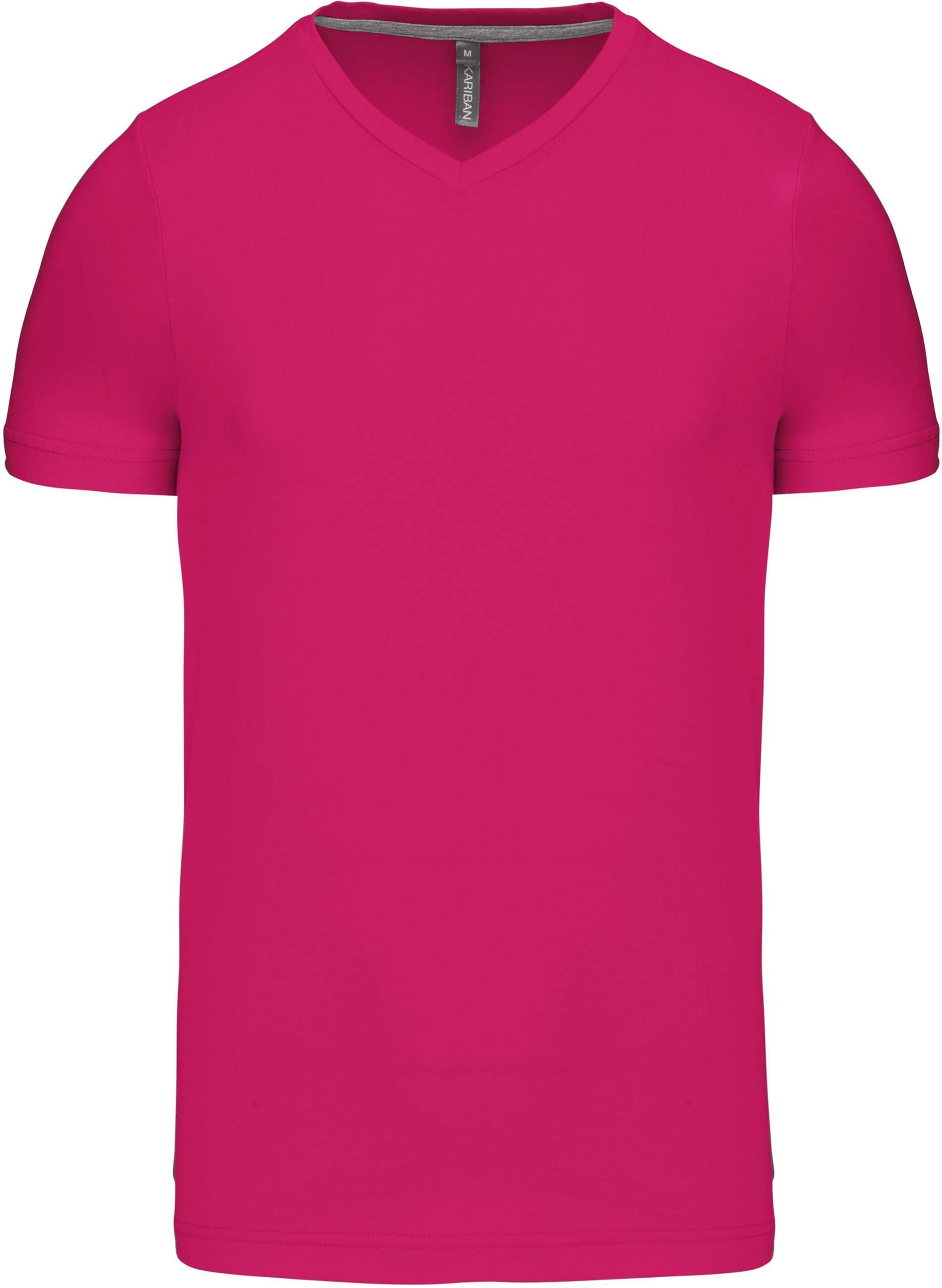Pánské tričko kr.rukáv V-neck. Barva: Fuchsia