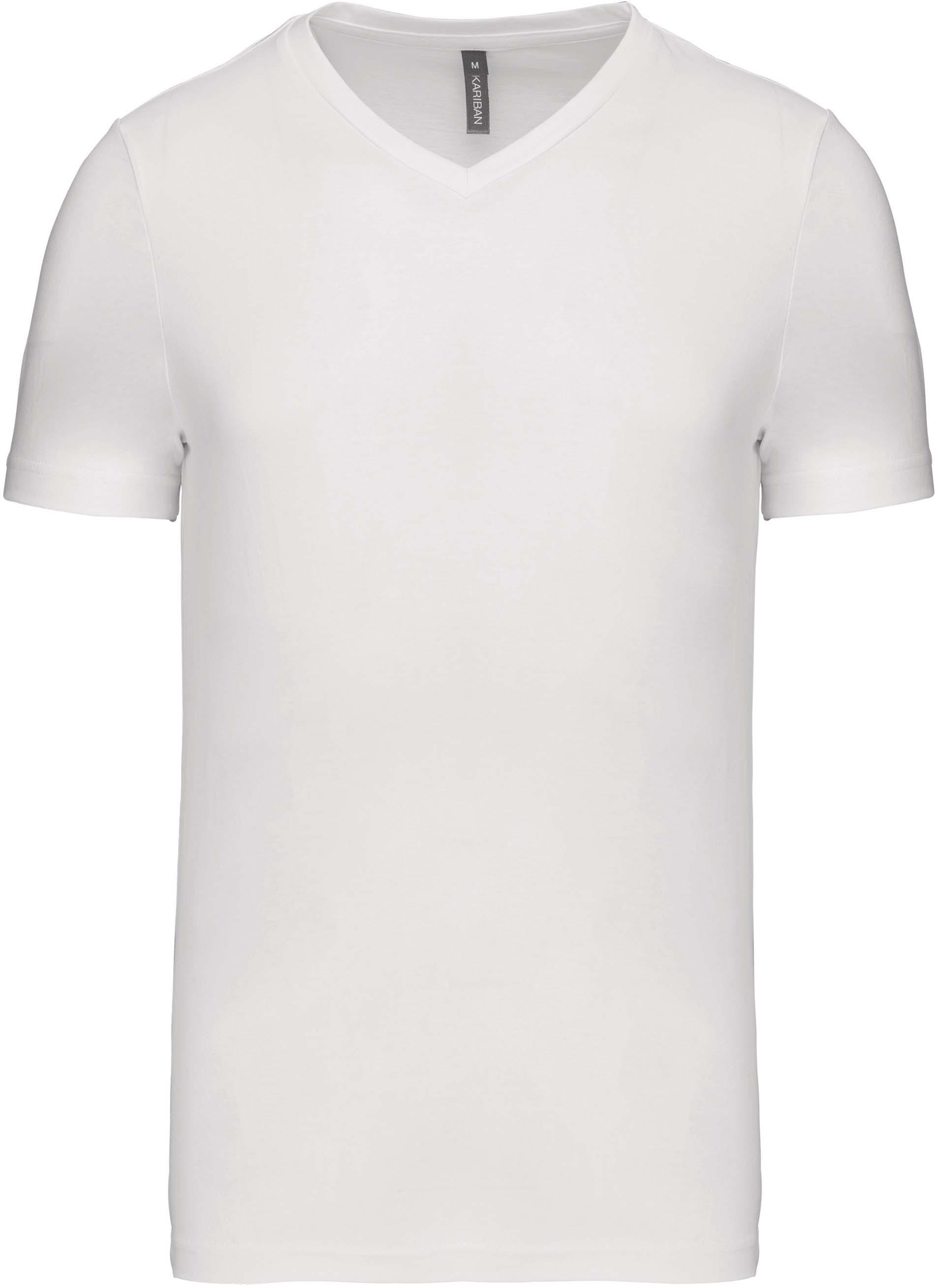 Pánské tričko kr.rukáv V-neck. Barva: White