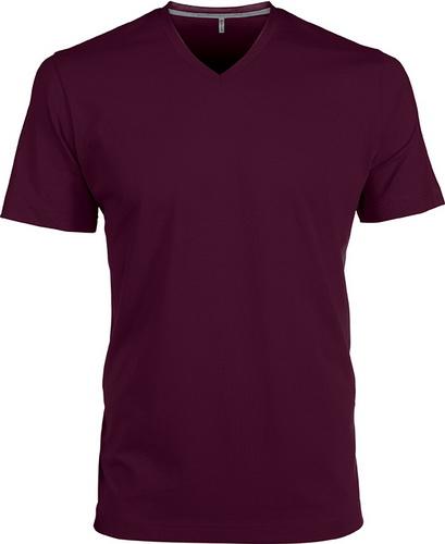 Pánské tričko kr.rukáv V-neck. Barva: Wine