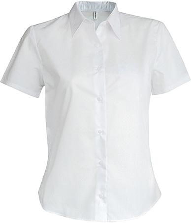 Dámská košile s krátkým rukávem v nežehlivé úpravě. Barva: White